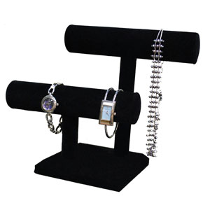 Black Necklace & Bracelet Double T-Bar
