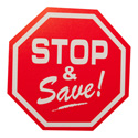 "Stop & Save"" Octagon Shaped Retail Sign"