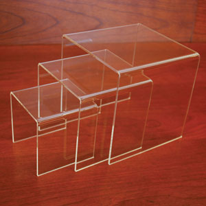 Small Acrylic Display Riser Set of 3 - 1/8