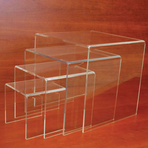 "Large Acrylic Display Riser Set of 4 - 1/4"" thick"