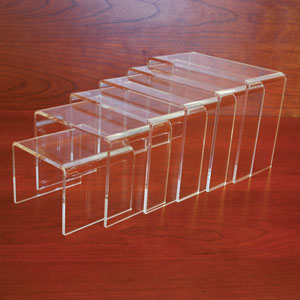 Clear Acrylic Display Riser Set of 6 - 3/16