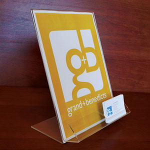 "8-1/2"" x 11"" Sign Holder With Business Card Slot"