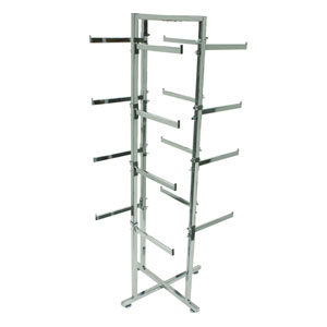 Chrome Lingerie Display Tower With Rectangular Arms