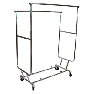 Collapsible Double Bar Salesman Garment Rack