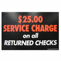 $25 Returned Checks Retail Policy Sign