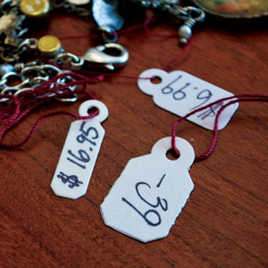Jewelry Price Tags with Burgundy Silk String
