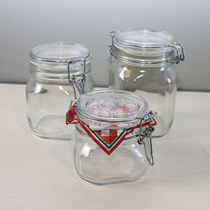 Fido Wire Bail Bormioli Rocco Square Glass Jars