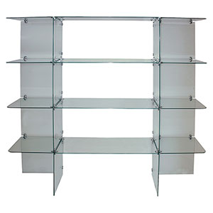 4-Shelf Glass Wall Display