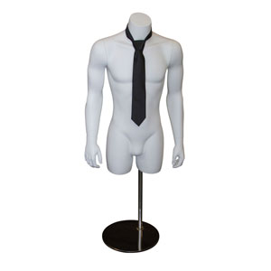 White Male Headless Torso Mannequin with Magnetic Arms