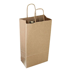 2-Bottle Wine Kraft Shopping Bag