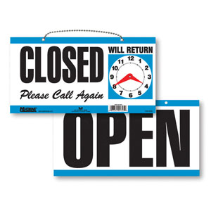 Open & Closed Retail Sign With Return Clock