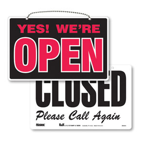 Reversible Open & Closed Retail Sign